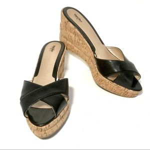 Mossimo Wedge Sandal 11 Parry Cork Black
